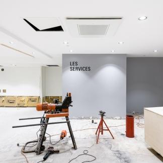 photographe d'architecture ©INTERVALphoto : Couasnon Launay architectes, Galerie Lafayette, chantier extension, Rennes, 35.