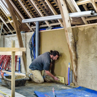 photographe d'architecture ©INTERVALphoto : Atelier ALP, chantier, enduits terre - paille, Pacé, 35