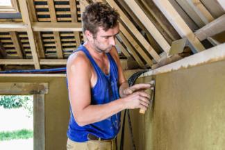 Atelier ALP, chantier, enduits terre / paille, Pacé, 35